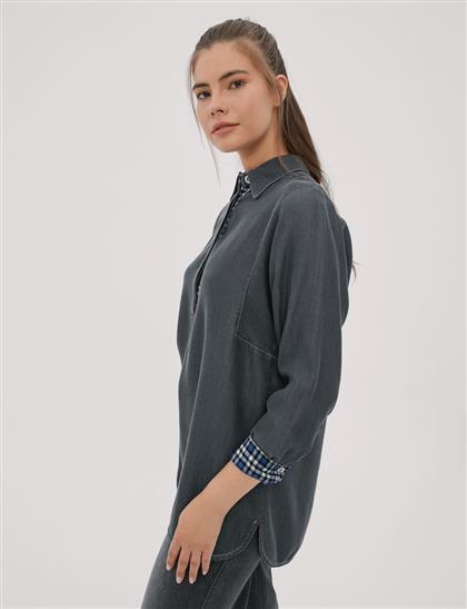 Arkası Çaprazlı Tensel Bluz Füme A20 11008