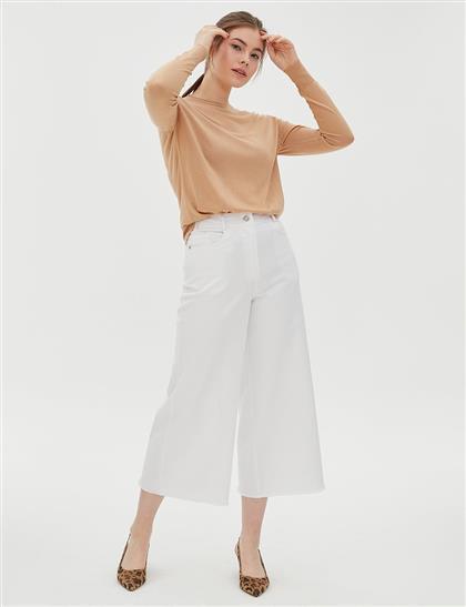 Bol Paça Denim Pantolon Beyaz A20 19195