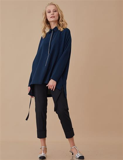 Duble Boru Paça Kumaş Pantolon Siyah A8 19106