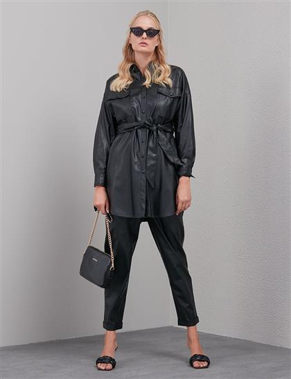 Pileli Suni Deri Pantolon Siyah A20 19120