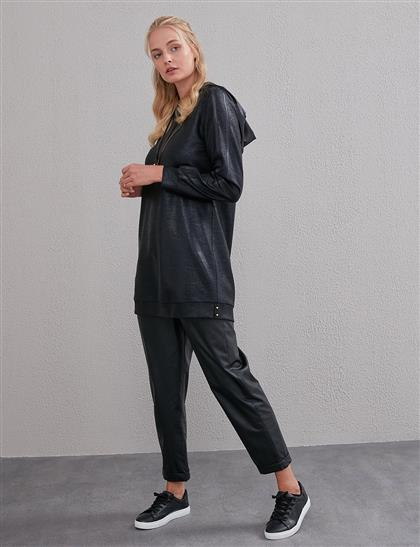 V Fermuarlı Kapüşonlu Tunik Siyah A20 21151