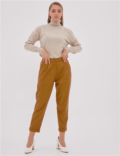 Pileli Suni Deri Pantolon Camel A20 19120