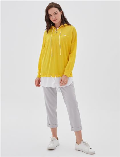 2 Parça Görünümlü Sweatshirt Sarı B20 21100
