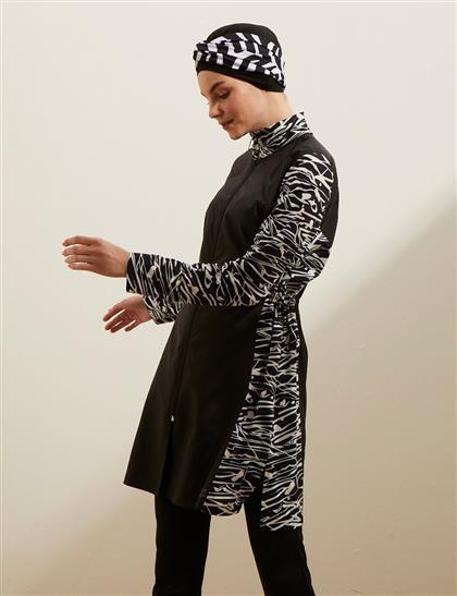 Zebra Desenli Mayo Takım Siyah B20 PLJ02