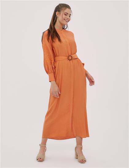 Sıfır Yaka, Gizli Patlı Elbise Turuncu B20 23076