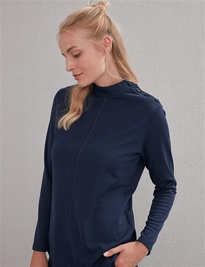 KYR Omzu Düğme Detaylı Bluz Lacivert A20 70005