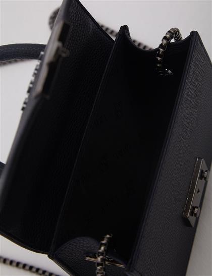 Metal Tokalı Mini El Çantası Lacivert A20 CNT06