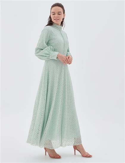 İnci Düğmeli Güpür Elbise Su Yeşili A20 23002