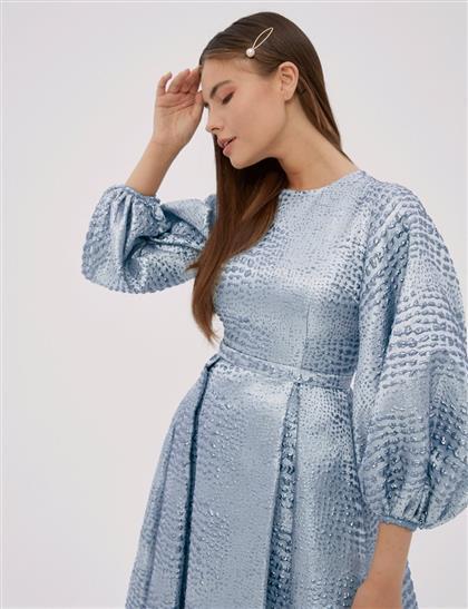 Balon Kollu Brokar Elbise Açık Mavi A20 23005