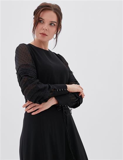 Şifon Kollu Elbise Siyah A20 23003