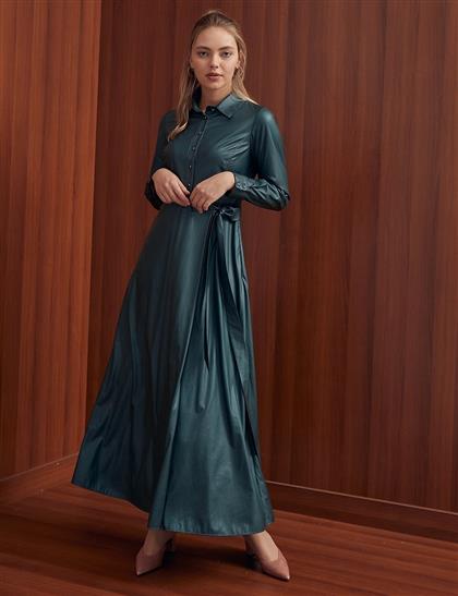 Yandan Bağlamalı Elbise Zümrüt A20 23110