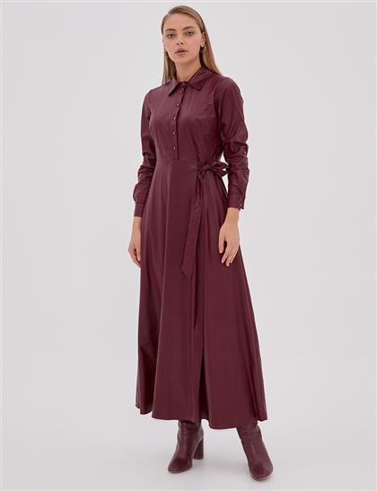 Yandan Bağlamalı Elbise Bordo A20 23110