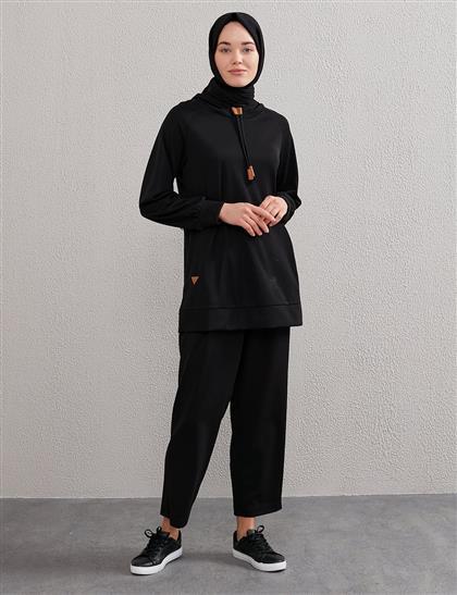Kapüşonlu Bağcıklı Sweatshirt Siyah A20 31002