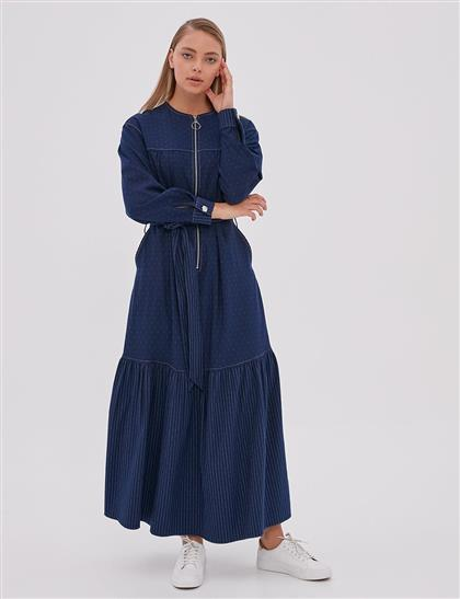 Puantiyeli Fermuarlı Elbise Lacivert A20 23105