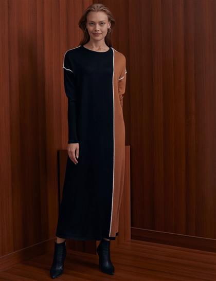 Tüylü İp Şeritli Parçalı Triko Elbise Siyah-Camel A20 TRK27