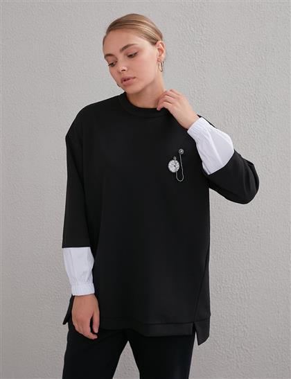 KYR Taş İşlemeli Sweatshirt Siyah A20 81553