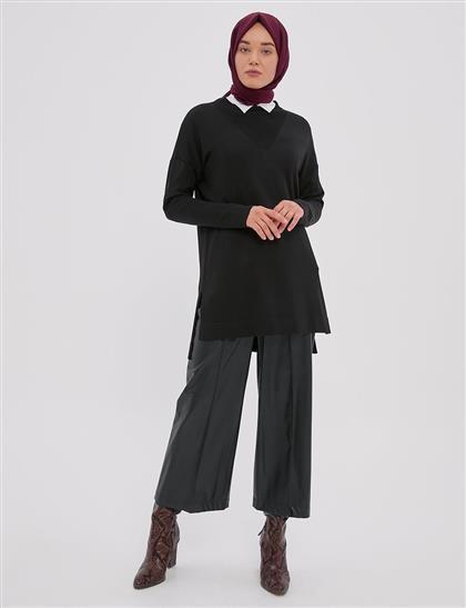Yırtmaçlı Triko Tunik Siyah A20 TRK15