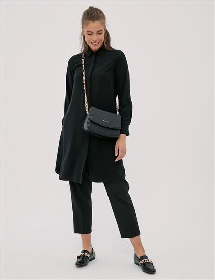 Basic Patı Gizli Tunik Siyah SZ 21506