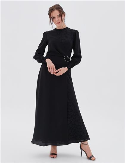 Drapeli Dantel Elbise Siyah A20 23006