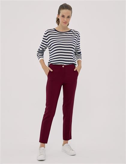 Basic Fermuarlı Pantolon Bordo SZ 19501