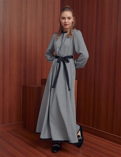 Kaz Ayağı Desenli Kuşaklı Elbise Siyah A20 23129