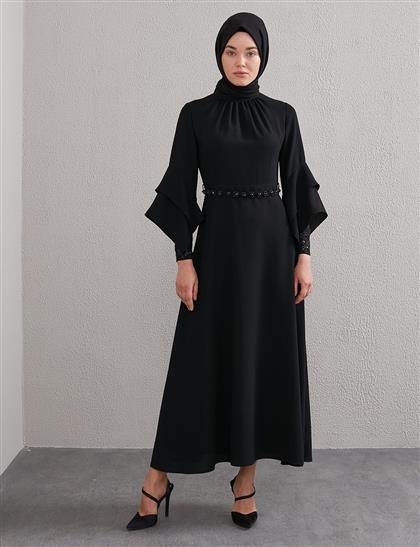 Yakası Büzgülü, Kemerli Elbise Siyah A20 23113
