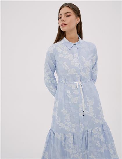 KYR Çizgili Poplin Elbise Mavi A20 83014