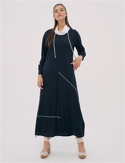 Asimetrik Parçalı, Etek Ucu Büzgülü Spor Elbise Lacivert B20 23010