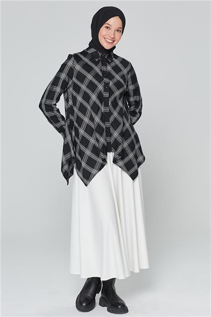 Armine Çizgili Gömlek Siyah 20K3914