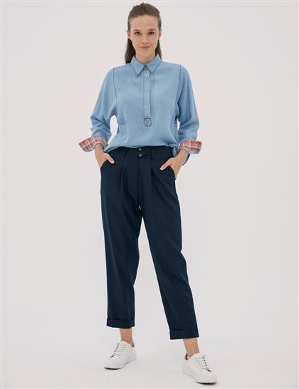 Beli Lastikli Pileli Pantolon Lacivert B20 19027