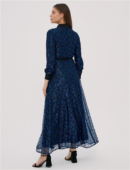 KYR Uzun Güpür Elbise Saks B20 83013
