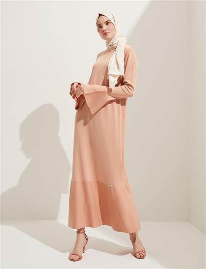 Volanlı Uzun Triko Elbise Pudra B20 TRK02