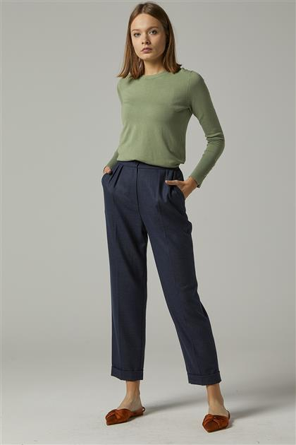 Lacivert Pileli Kumaş Pantolon