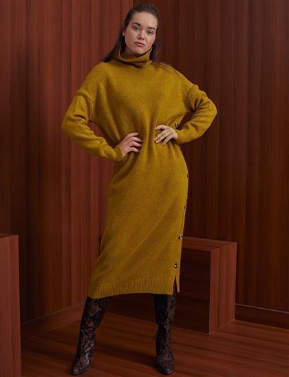 Yan Düğmeli Balıkçı Triko Elbise Hardal A20 TRK08