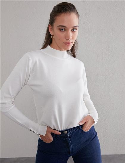 Basic Triko Bluz Ekru SZ TRK05