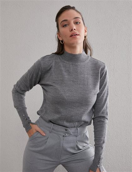 Basic Triko Bluz Gri SZ TRK05