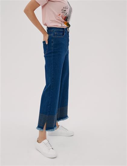 KYR Püskül ve Şerit Detaylı Bol Paça Denim Pantolon Lacivert B20 79007