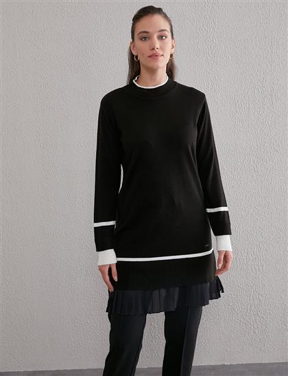 Etek Ucu Pilise Triko Tunik Siyah A20 TRK45