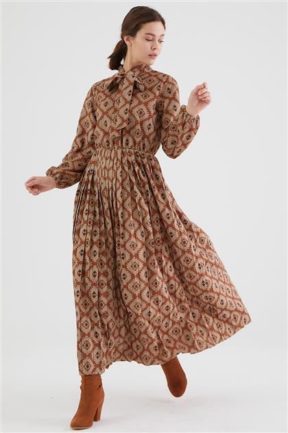 1864-58 فستان-أحمر قرميدي