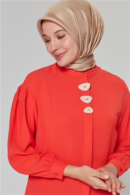 Armine Düğme Detaylı Tunik Nar Çiçeği 20Y4316