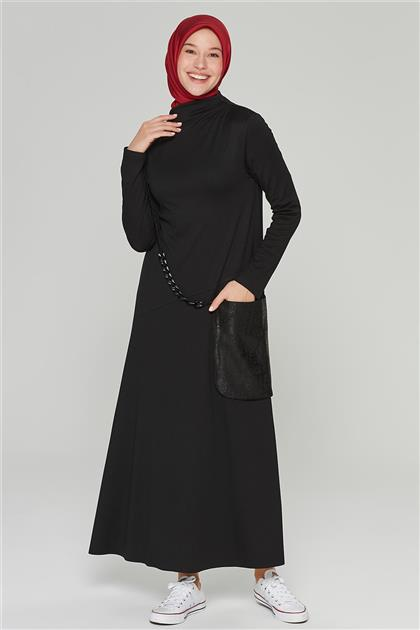 Armine Cep Detaylı Elbise Siyah 20K9221