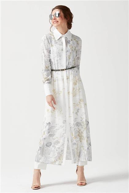 Önü Gizli Pat Düğmeli Beyaz Elbise V19YELB17014