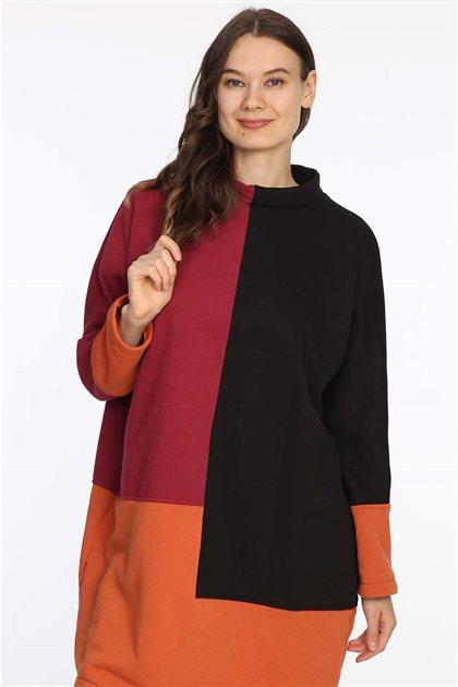 Sweatshirt-Siyah-Bordo 601-01-67
