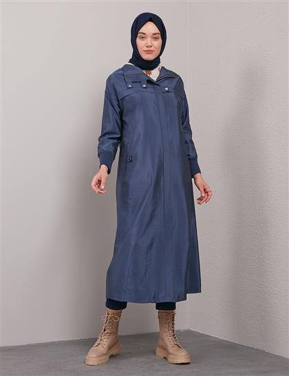 Crinkle Trench Coat with Elastic Ankle A20 25108 Navy