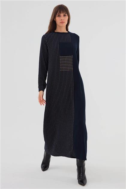 Önü Cep Detaylı Çizgili Kadın Elbise Lacivert V20KELB17060