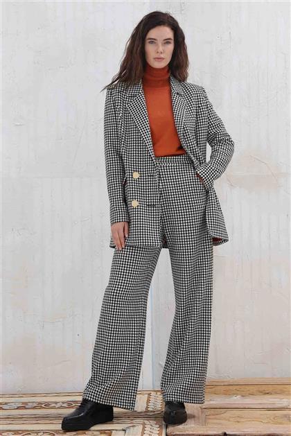 Kaz Ayağı Desenli Kadın Pantolon Siyah V20KPNT35004