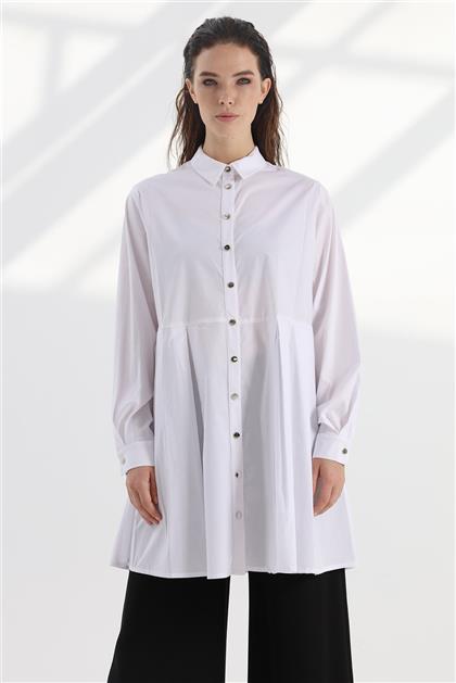 Rahat Form Poplin Kumaş Kadın Beyaz Tunik V20KTNK45005