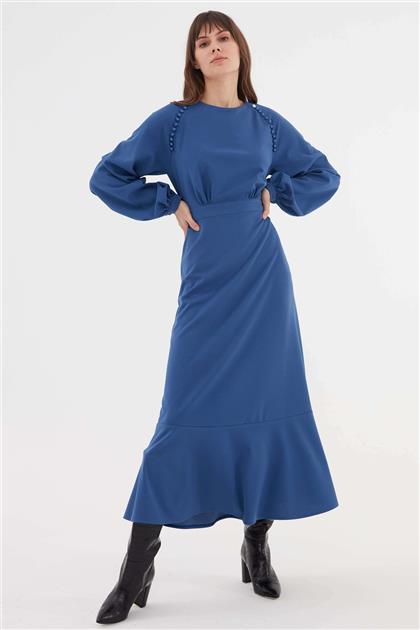 Omuz Düğme İşlemeli Kadın Elbise İndigo V20KELB17047
