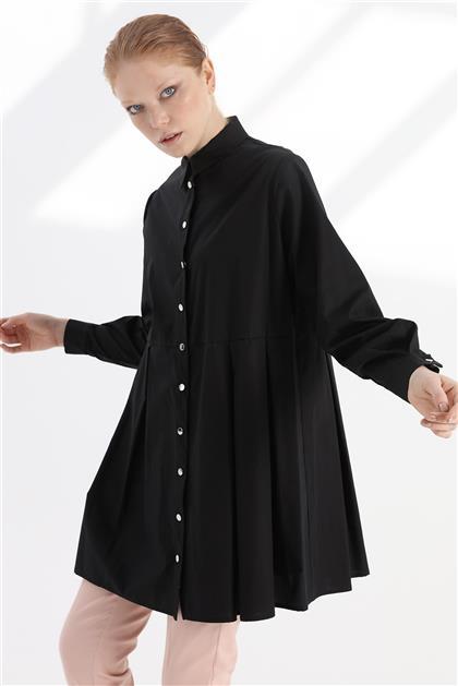 Rahat Form Poplin Kumaş Kadın Siyah Tunik V20KTNK45005