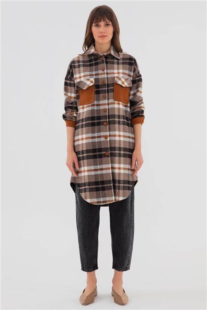 Pamuklu Cep Detaylı Kadın Ceket Taba V20KCKT14010